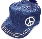 Wholesale Rhinestone Castro Hat - Peace Sign - Splash Dark Denim