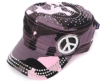 Wholesale Rhinestone Castro Hat - Peace Sign - Pink Camo