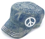 Wholesale Rhinestone Castro Hat - Peace Sign - Splash Light Denim