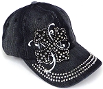 Wholesale Short Cross Baseball Rhinestone Hats -  Black Denim