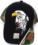 Wholesale Native Pride Baseball Cap - Eagle and Feather -Black H.Camo