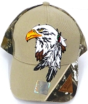 Wholesale Native Pride Baseball Cap - Eagle and Feather -Khaki  H.Camo