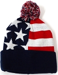 Beanies Wholesale | Pom Pom Beanies Trendy Winter Hats - USA American Stars