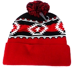 Wholesale Pom Pom Aztec Sideline Beanie Black Red