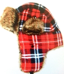 Trooper Bomber Faux Fur Winter Hats Wholesale - Plaid  RED