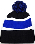 Beanies Wholesale | Pom Pom Beanies Trendy Winter Hats - Black Royal Blue