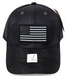 Wholesale USA Flag Patriotic Mesh Back Baseball Caps -Black Camo