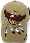 Wholesale Native Pride Baseball Cap -  Eagle - Arrow- Khaki