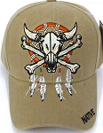 Wholesale Native Pride Baseball Cap -  Skull - Khaki