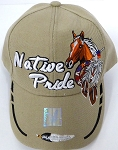 Wholesale Native Pride Baseball Cap - Horse -  Khaki