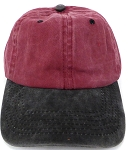 Pigment Dyed  Cotton Plain Baseball Cap - Gold Metal Buckle - Burgandy Black