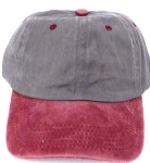 Pigment Dyed  Cotton Plain Baseball Cap - Gold Metal Buckle - D.Grey Burgandy