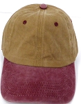 Pigment Dyed  Cotton Plain Baseball Cap - Gold Metal Buckle - Khaki Burgandy