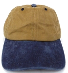 Pigment Dyed  Cotton Plain Baseball Cap - Gold Metal Buckle - Khaki Navy