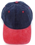 Pigment Dyed  Cotton Plain Baseball Cap - Gold Metal Buckle -Navy Red