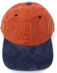 Pigment Dyed  Cotton Plain Baseball Cap - Gold Metal Buckle -Orange Navy