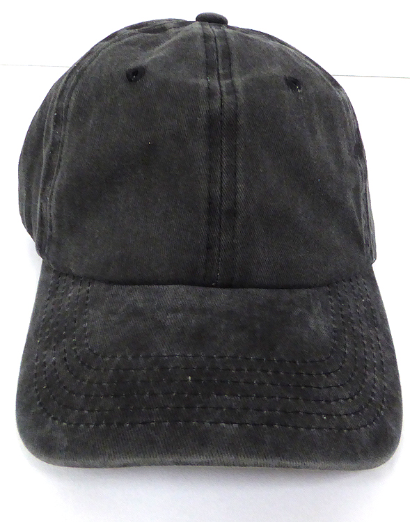509422cb9b45 Pigment Dyed Cotton Plain Baseball Cap - Gold Metal Buckle - Solid Black. Wash  Cotton Baseball Cap