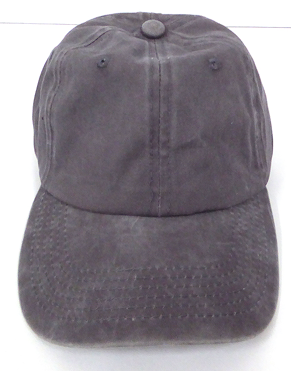 3f4e7656 Pigment Dyed Cotton Plain Baseball Cap - Gold Metal Buckle - Solid D.Grey.  Wash Cotton Baseball Cap