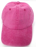 Pigment Dyed Cotton Plain Baseball Cap - Gold Metal Buckle - Solid Hot Pink