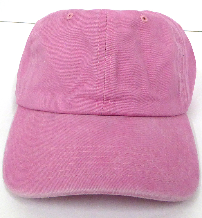 89256112 Pigment Dyed Cotton Plain Baseball Cap - Gold Metal Buckle - Solid L.Pink.  Wash Cotton Baseball Cap