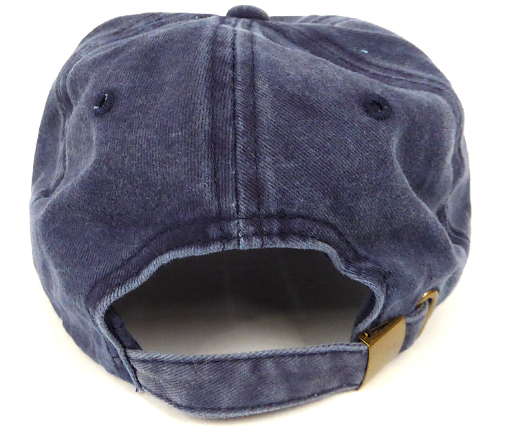 dff61331083 Pigment Dyed Cotton Plain Baseball Cap - Gold Metal Buckle - Solid ...