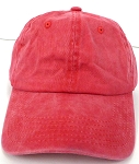 Pigment Dyed  Cotton Plain Baseball Cap - Gold Metal Buckle - Solid Red