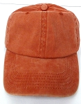 Pigment Dyed Plain Baseball Cap - Gold Metal Buckle - Solid Texas Orange(Burnt Orange)