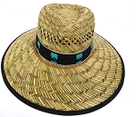 Straw Hat Wholesale - Summer / Sun Protection Hats - Palm Trees  Black Band (Wholesale price dozen only)
