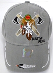 Wholesale Native Pride Baseball Cap - Warrior Axe -  Grey