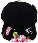 INFANT Baby Blank Snapback Hats & Caps Wholesale Hawaiian Flower  - Black