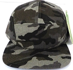 Blank 5 Panel Camp Hats/Caps Wholesale - Charcoal Camouflage