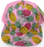Wholesale Mesh Trucker 5 Panel Snapback Blank Hats - Floral  Pineapple - Pink