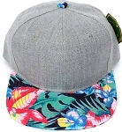 KIDS JUNIOR Bulk Blank Snapback Caps - Grey Denim | Navy Tone Hibiscus