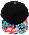 KIDS Jr. Snapback Hats Wholesale -  Black Navy Tone Hawaiian Hibiscus