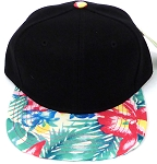 KIDS Jr. Snapback Hats Wholesale -  Black Khaki  Hawaiian Hibiscus