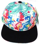 KIDS Jr. Snapback Hats Wholesale - Khaki  Black Hawaiian Hibiscus
