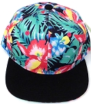 KIDS Jr. Snapback Hats Wholesale - Navy Tone Black Hawaiian Hibiscus