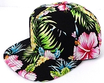 Blank 7 Panel Hawaiian Flower  Hats/Caps Wholesale -  Black