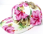 Blank 7 Panel Hawaiian Flower  Hats/Caps Wholesale -  PINK
