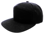 Blank 7 Panel  Hats/Caps Wholesale - Solid Black