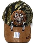 Wholesale Native Pride PU Brim Cap - Wolf Dreamcatcher - Hunting Camo