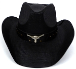 Western Cowboy Straw Hats Wholesale - Black  Longhorn Band