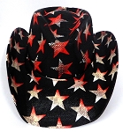 Cowboy Straw Hat Wholesale - American Patriot - Vintage  Stars Black
