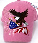 Wholesale USA Patriotic Eagle Baseball Cap -Light Pink