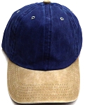 Pigment Dyed  Cotton Plain Baseball Cap - Gold Metal Buckle - Navy  Khaki