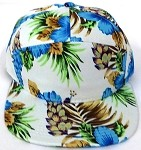 Blank 7 Panel  Hats/Caps Wholesale - Solid Hawaiian Blue Flower