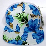 Blank 7 Panel  Mesh Trucker Hats/Caps Wholesale - Solid Hawaiian Blue Flower