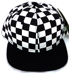 KIDS Jr. Snapback Hats Wholesale -  bk Checkered Art Design   / Black