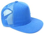 KIDS Junior Plain Trucker Snapback Caps - Sky Blue
