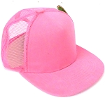 KIDS Junior Plain Trucker Snapback Caps - Light Pink